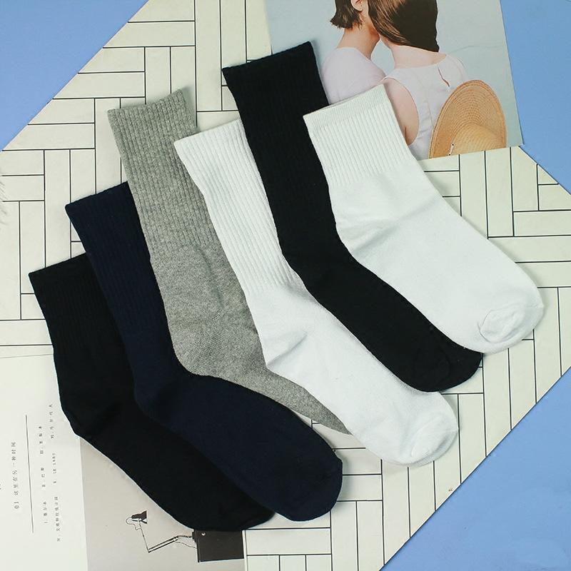 Korea ins simple solid black and white medium length socks men and women Harajuku port style towel bottom thickened trend socks