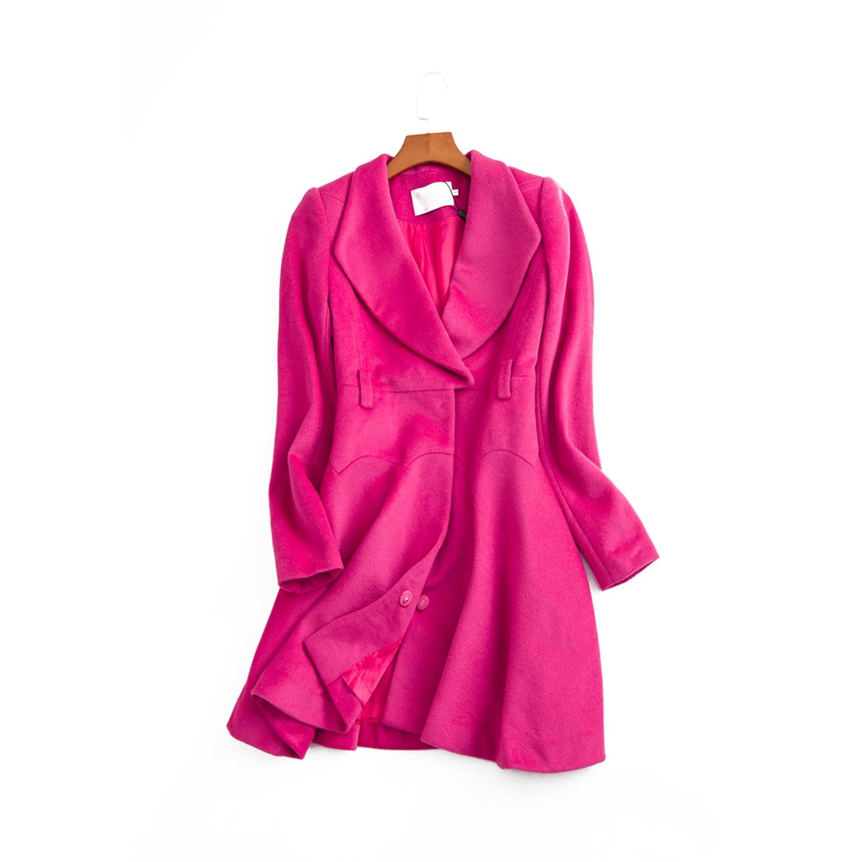 17秋冬 台湾女装 彩姿堤娜 高雅粉色减龄修身裙摆式大衣外套2115H