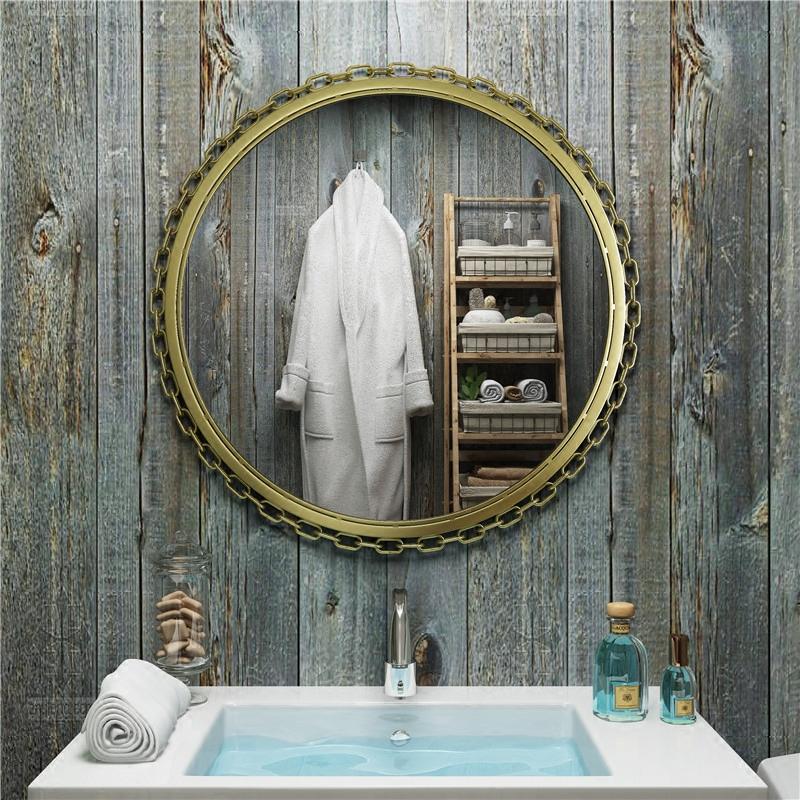 Континентальный ванная комната зеркало юань цзин косметическое зеркало круглый ванная комната зеркало настенный ванная комната зеркало железо зеркало