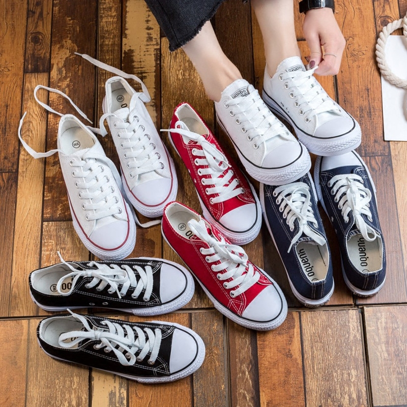 Yuanbo versatile white canvas shoes womens little white shoes spring Korean low top board shoes casual shoes student cloth shoes lovers shoes