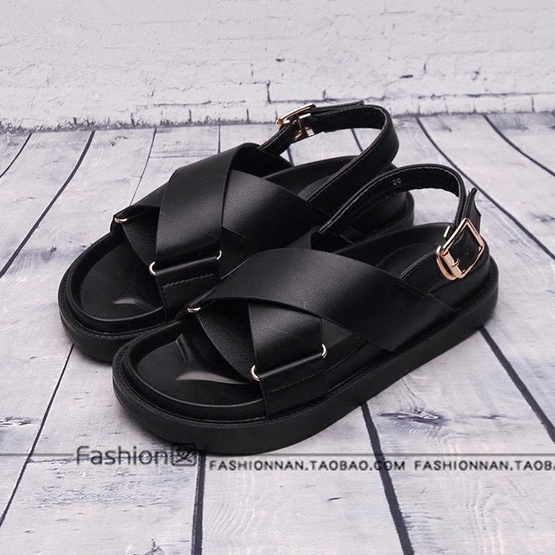 fashion囡夏季欧美风搭扣平跟凉鞋