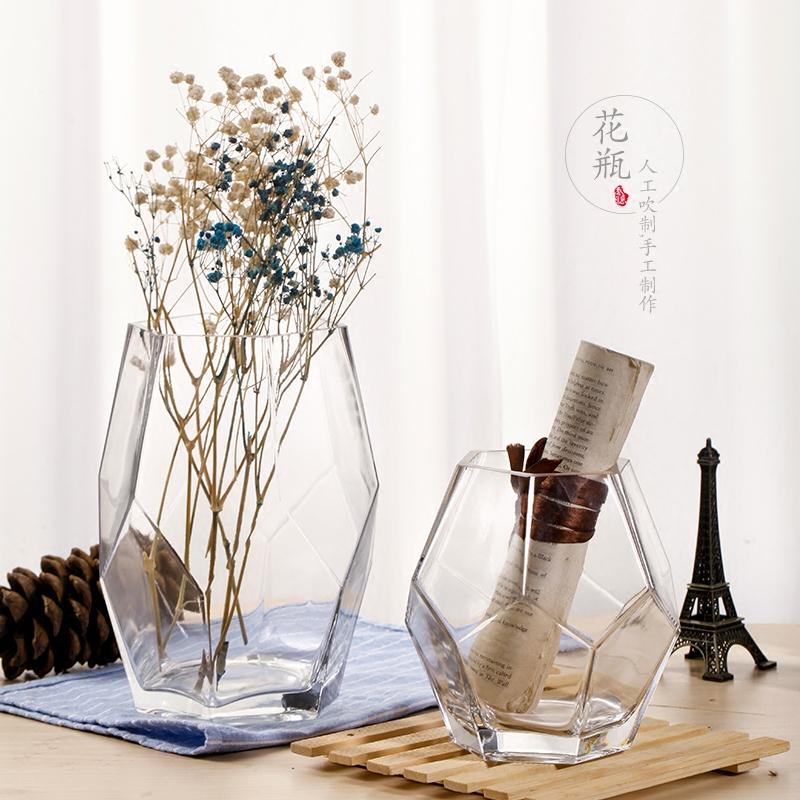 Стекло ваза украшение гостиная цветочная композиция прозрачный творческий личность нордический геометрия широкий рот современный простой роуз цветы