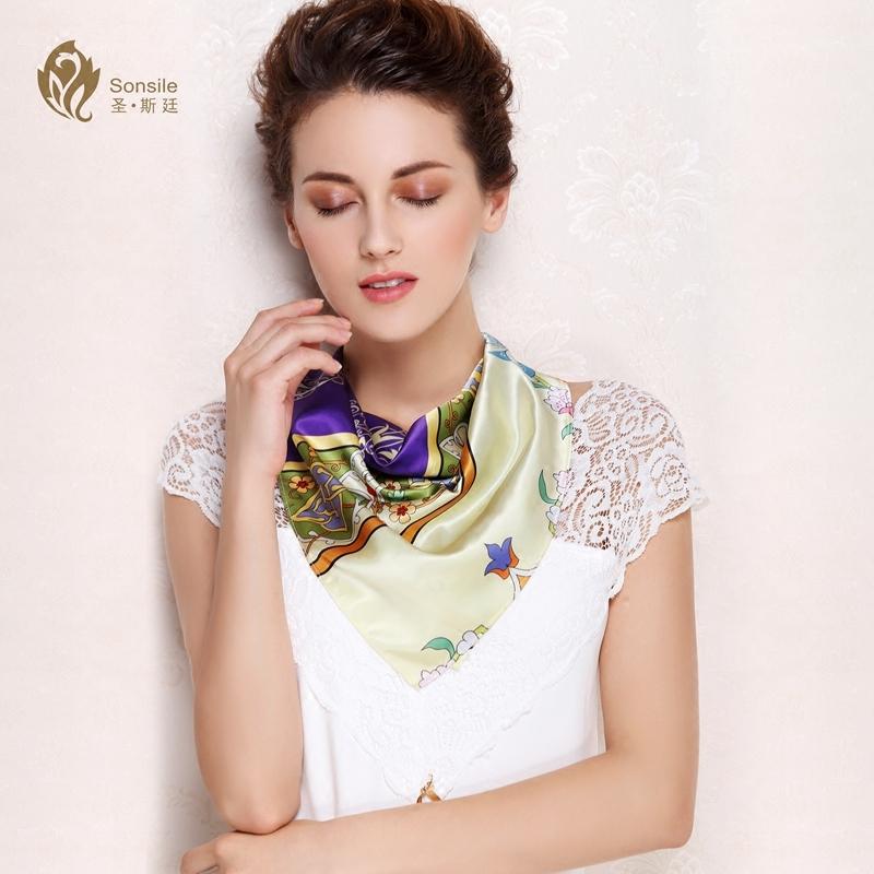 夏季职业丝巾小方巾女士春秋百搭韩国文艺装饰两用印花领巾礼盒装