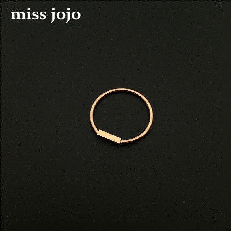 MISS JOJO简约基本款光面小长方形钛钢镀玫瑰金关节食指尾戒指女
