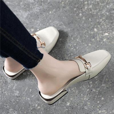 真皮凉拖鞋粗跟平底包头半拖鞋女外穿时尚2020年新款夏季女鞋半托