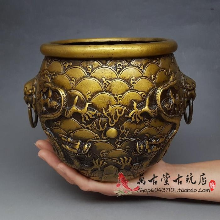 仿古大号双龙戏珠纯铜罐摆件风水招财铜缸家居装饰工艺品古玩收藏