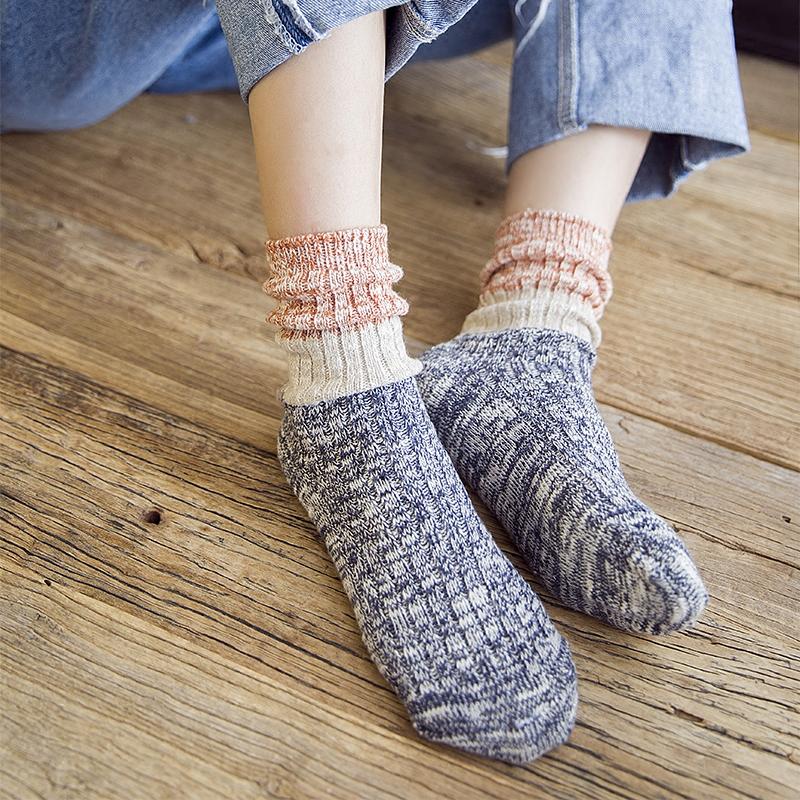 18.80元包邮袜子女秋冬羊毛粗线堆堆袜加厚保暖女袜复古中筒袜韩版学院风长袜
