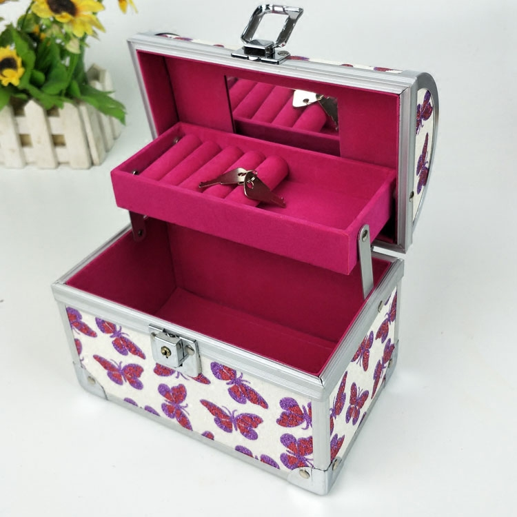 Net red jewelry box Princess European Korean childrens earrings with lock, necklace, jewelry storage, make-up box, large capacity