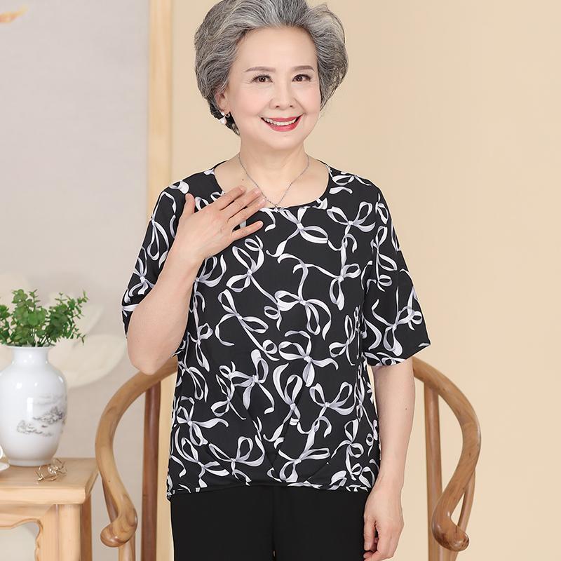 和家缘夏季中老年女装聚酯中年单件大码常规上衣休闲宽松打底T恤
