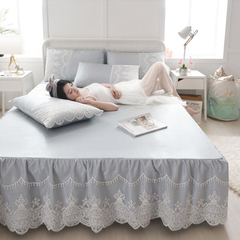 凉席1.8m床双人冰丝席夏季可水洗空调席子1.5/2m蕾丝床裙折叠软席