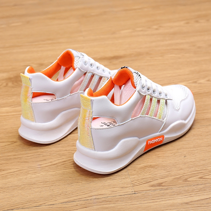 2020 new sandals womens summer, Chinese and Korean version inner height students hollow out muffin shoes thick soled small white shoes womens versatile