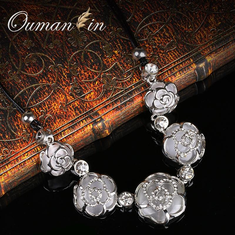 韓國花朵皮繩裝飾項鏈女短款鎖骨鏈百 飾品毛衣鏈首飾掛件