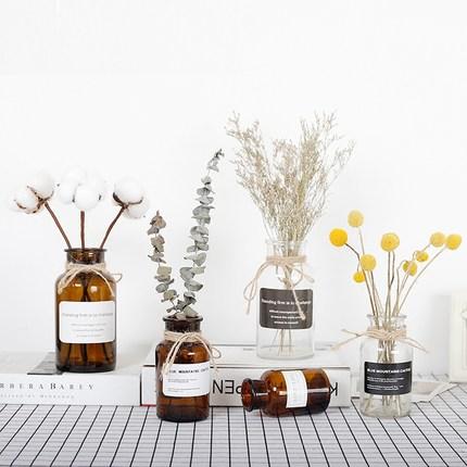 ins风透明玻璃花瓶 北欧客厅复古家居装饰品 小清新干花插花摆件
