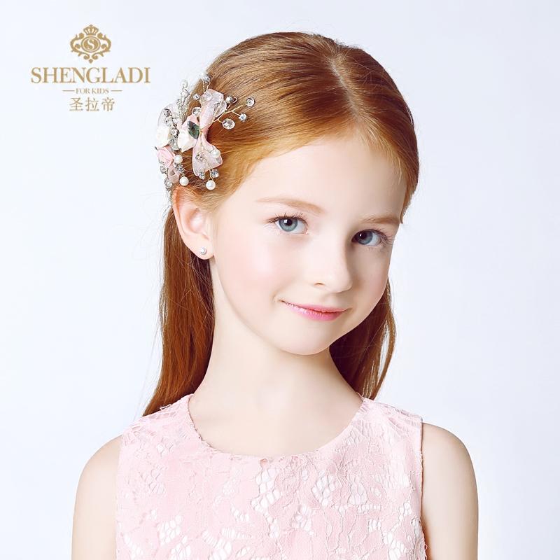 公主女孩女童粉色發夾禮服