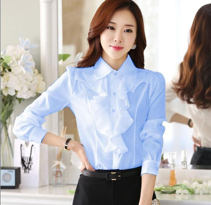 ? Spring and Autumn New Korean version of womens doll collar Ruffle Long Sleeve White Chiffon shirt professional bottoming and slim fitting clothes