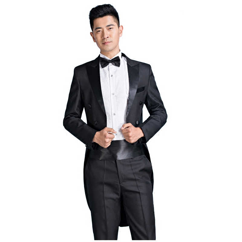 New mens tuxedo singer emcee magic stage bel canto performance dress wedding dress man