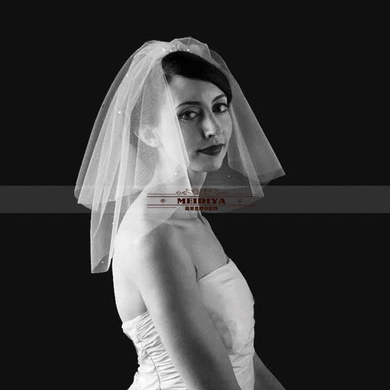 新娘头纱短款双层简约珍珠复古头纱带发梳素纱旅拍新款韩式短头纱限99999张券