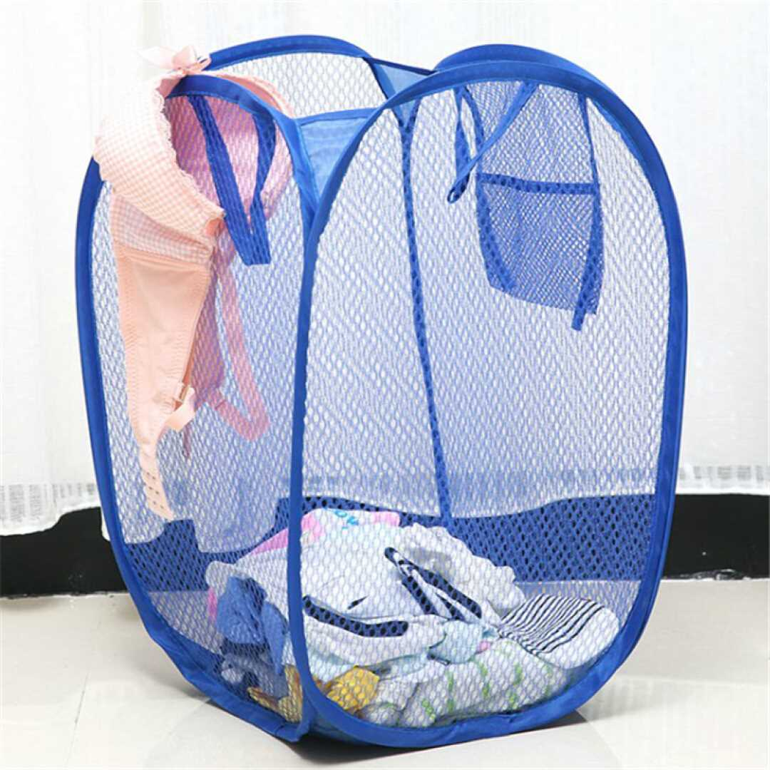 大号新款创意家居彩网折叠式脏衣篮衣服收纳筐脏衣篮储物筐 宝蓝