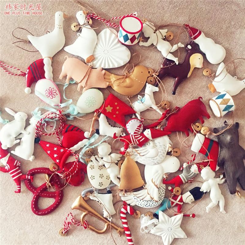 出口欧洲原单圣诞树装饰品金属小挂件 立体双面挂饰 圣诞节礼物