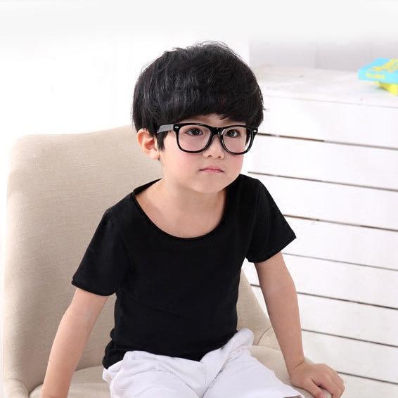 薄款儿童莫代尔宽松短袖男女孩纯素色T恤半袖圆领上衣童装黑白色