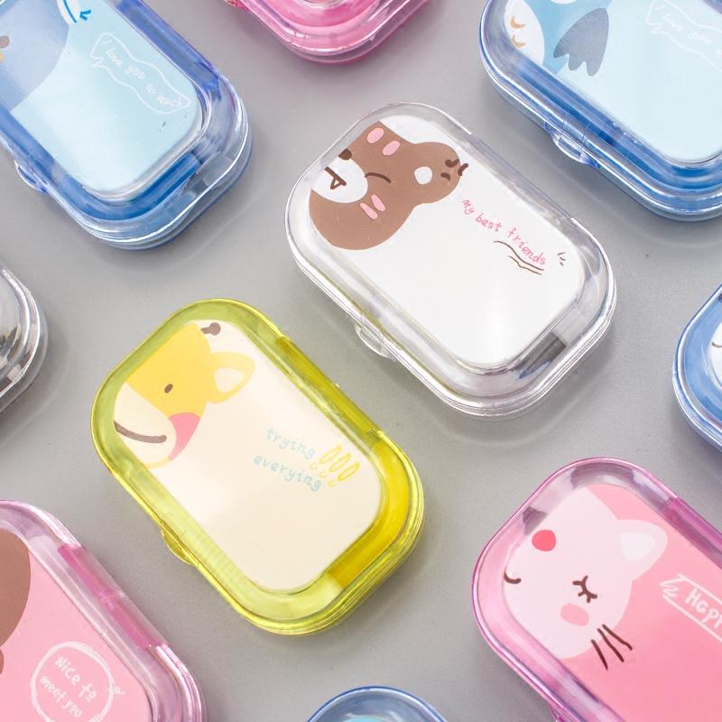 韩国卡通创意隐形近视眼镜盒护理盒美瞳盒可爱双联盒伴侣盒带镜子