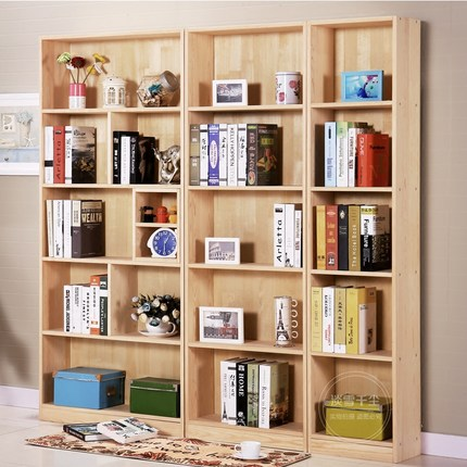 特价促销实木书柜自由组合松木橱大容量储物柜可定制bookcase