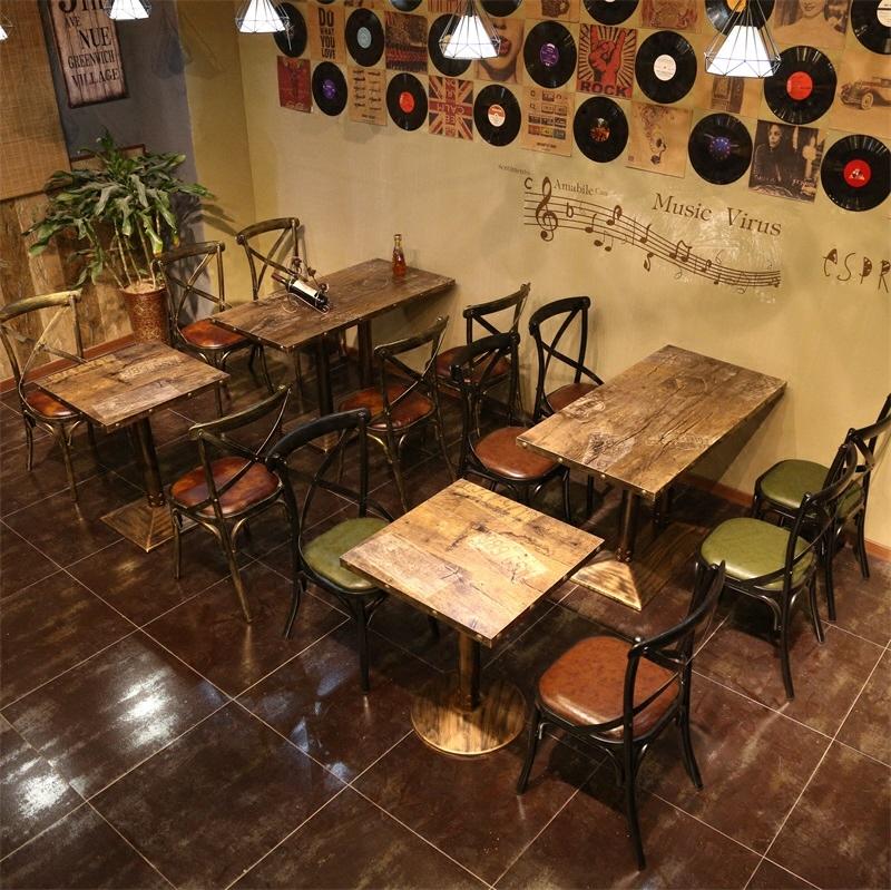 美式LOFT铁艺实木餐桌星巴克咖啡厅桌椅组合工业风酒吧复古吧台桌