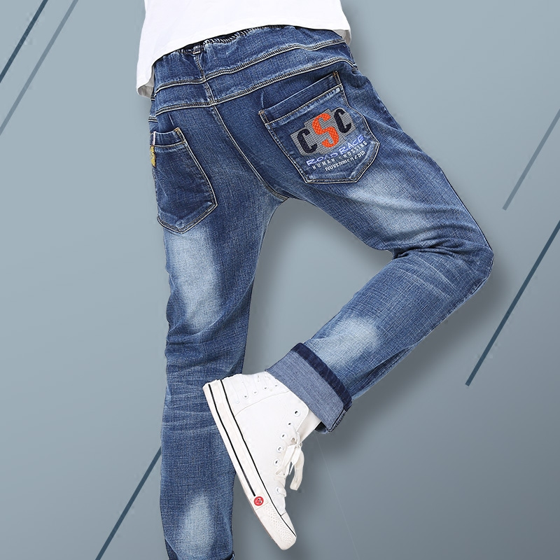 Spring and autumn 16 youth jeans loose 13 high school junior high school students elastic waist 14 thin boys 15-year-old pants