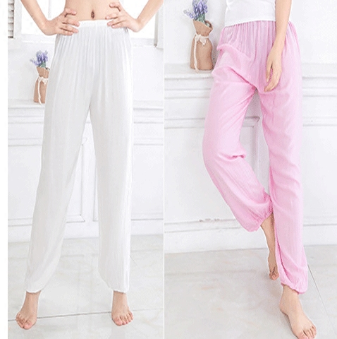 2020 summer candy color sports underpants pure cotton silk solid color pajamas beach versatile loose anti mosquito lantern pants for women