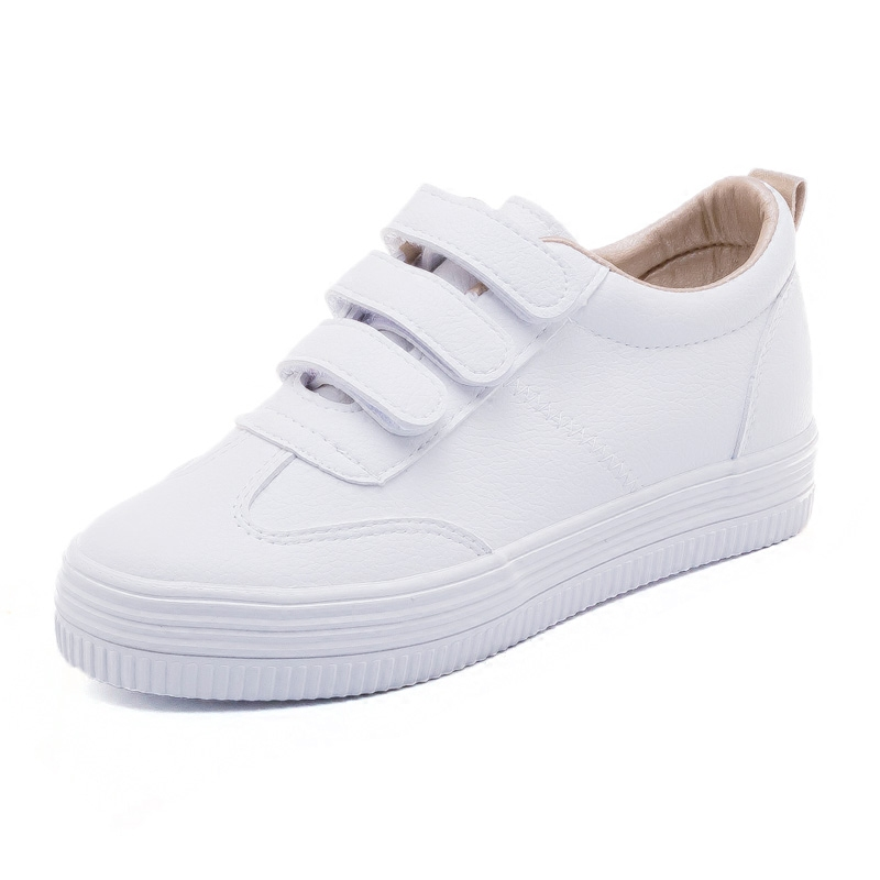 内增高女鞋基础百搭小白鞋女春季2018新款韩版魔术贴懒人厚底板鞋
