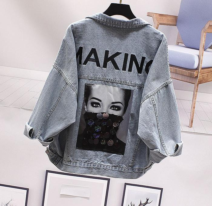 Outerwear women 2020 spring and Autumn New Korean loose BF letter embroidery Sequin decoration NIS denim jacket