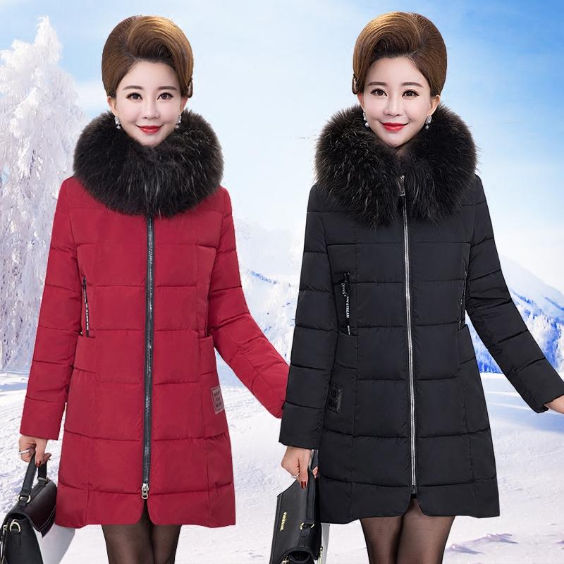 中年人妈妈装棉衣中长款40-50岁中老年女装加厚冬装羽绒棉服外套