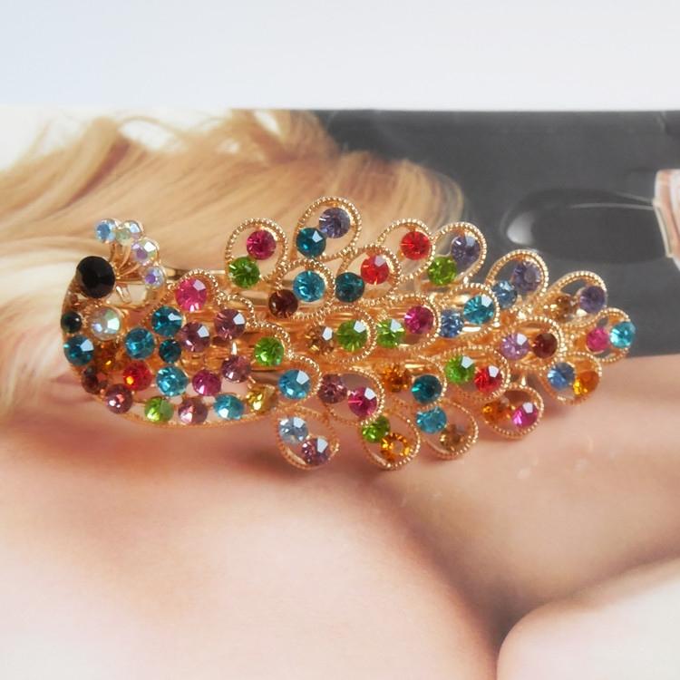复古创意超闪彩色水钻孔雀造型发夹女款气质发饰头饰顶夹弹簧夹