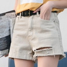 Jeans Shorts Female Summer 2019 New Hole-Breaking Korean Version Baitao Loose Chic High-waist A-shaped Broad-legged Hot Pants