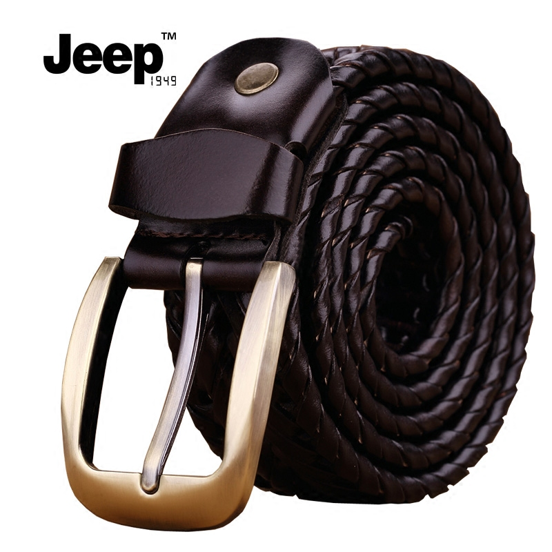 Jeep1949 genuine leather belt mens pin buckle belt mens knitting summer versatile Korean leisure