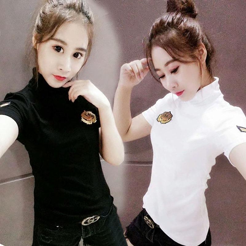 2020春秋新款女T恤短袖白上衣韩版修身显瘦高领半袖百搭打底衫
