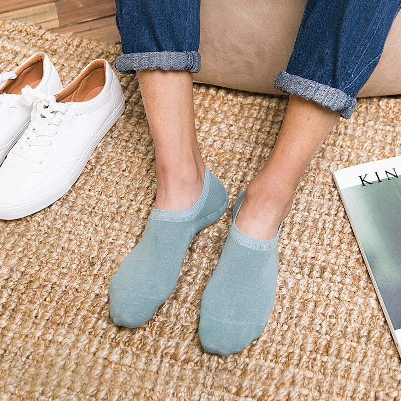 夏季薄款简约男士隐形船袜 日系纯色全棉低帮短袜运动潮男袜子