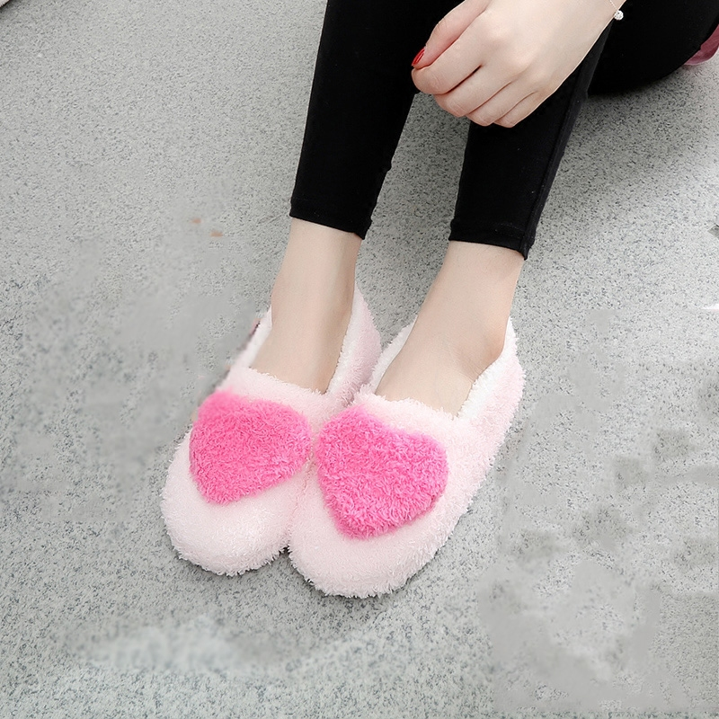 Spring and autumn Korean Princess Pink lovely girl soft bottom slippers love all inclusive heel home Plush floor indoor cotton shoes