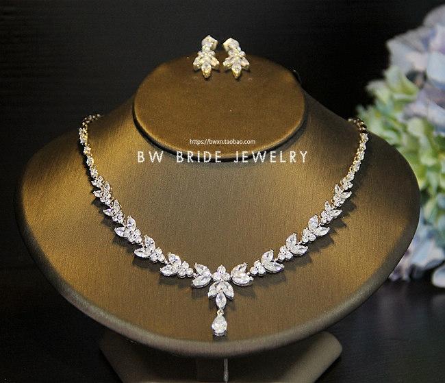 简约精致锆石项链耳环套装新娘饰品