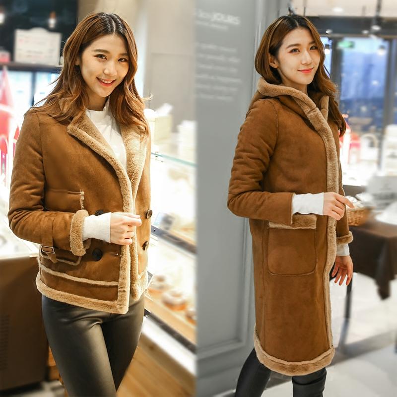 麂皮绒秋冬季外套女短款加厚羊羔毛韩版夹克修身学生棉衣皮毛一体