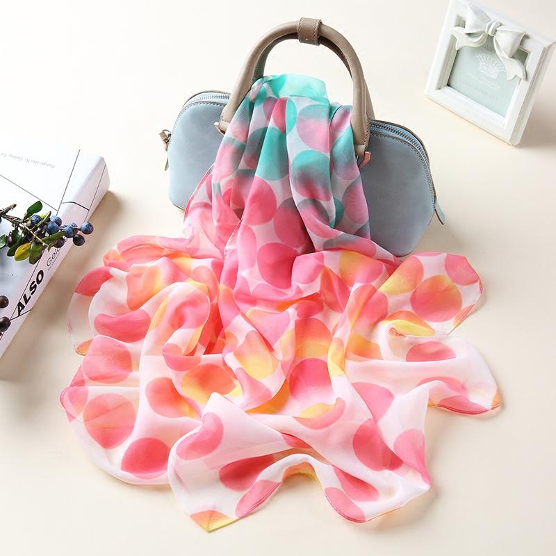 韩版春秋雪纺丝巾女士围巾夏季防晒沙滩巾两用加大披肩纱巾圆圈点