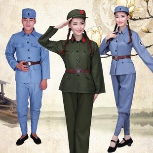 芳华成人绿红军演出八路军抗战解放男女红卫兵服装舞蹈军装合唱服