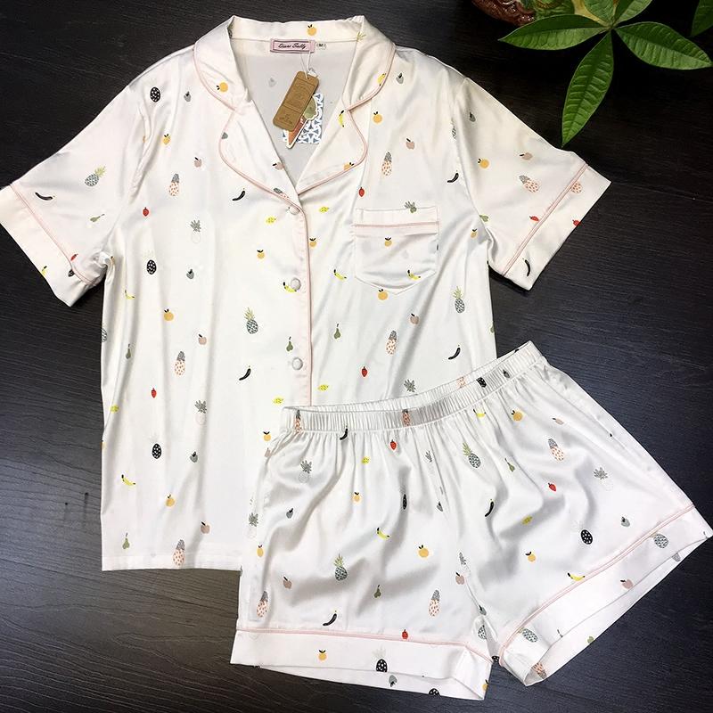 水果印花睡衣女夏季薄款两件套短袖短裤冰丝睡衣真丝绸家居服套装