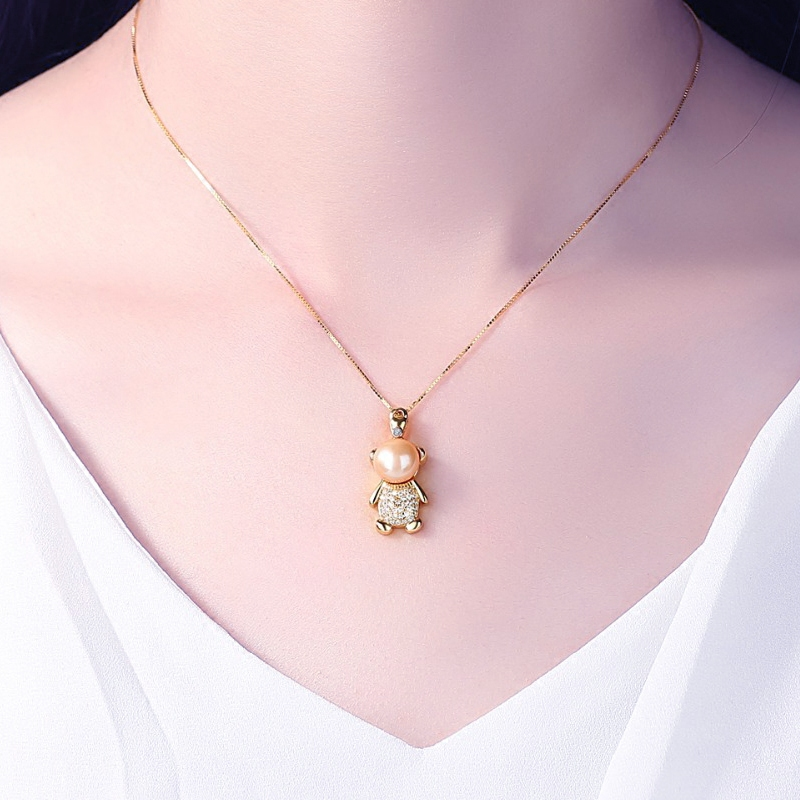Bear Necklace Pendant womens Korean version simple S925 silver clavicle chain natural freshwater pearl diamond zircon gift
