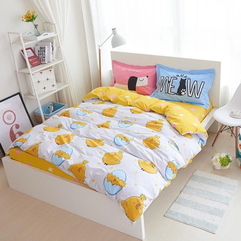 秋冬简约可爱卡通纯棉四件套1.5m1.8米床上用品儿童全棉床单被套