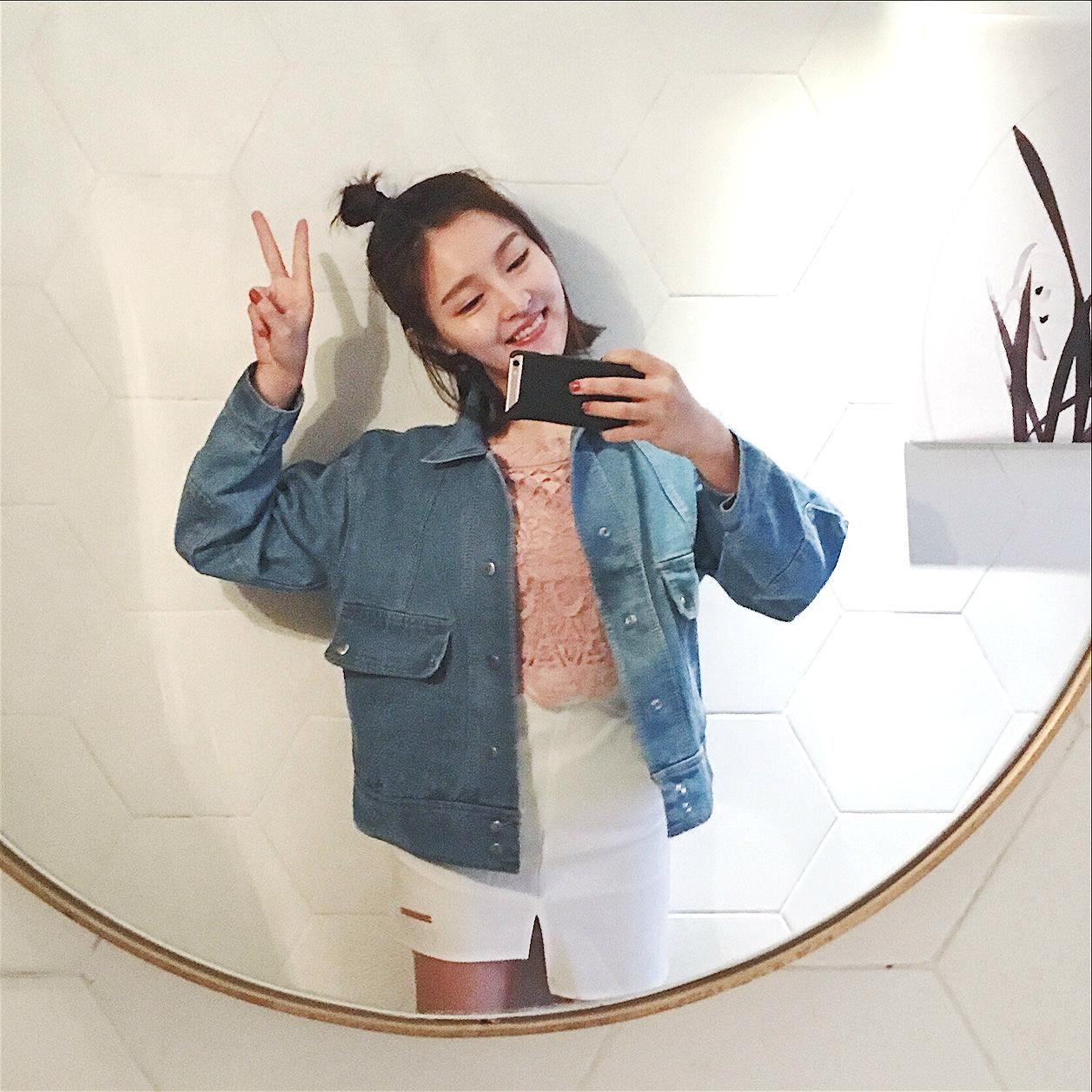 VE2017春韩版百搭纽扣大口袋学生日常宽松bf袖子贴布牛仔外套女