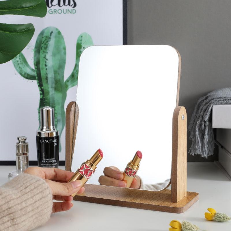 新款木质台式化妆镜子 高清单面梳妆镜美容镜 学生宿舍桌面镜大号券后19.80元