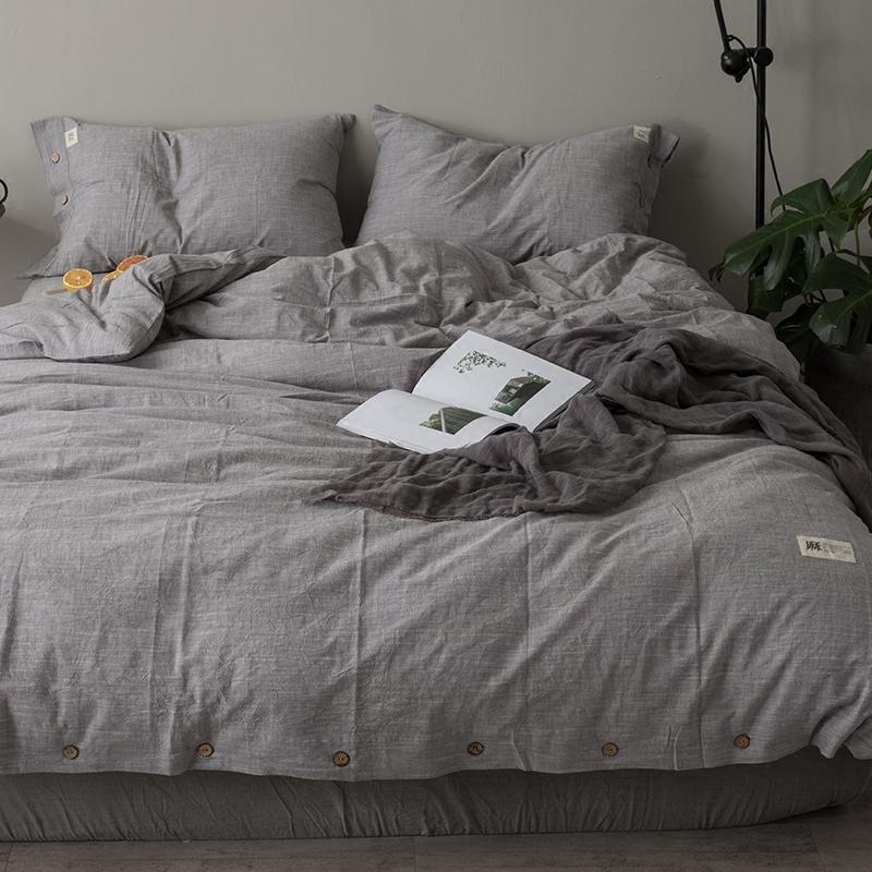 纯色素色水洗棉麻四件套北欧简约全棉亚麻床单被套床笠款床上用品