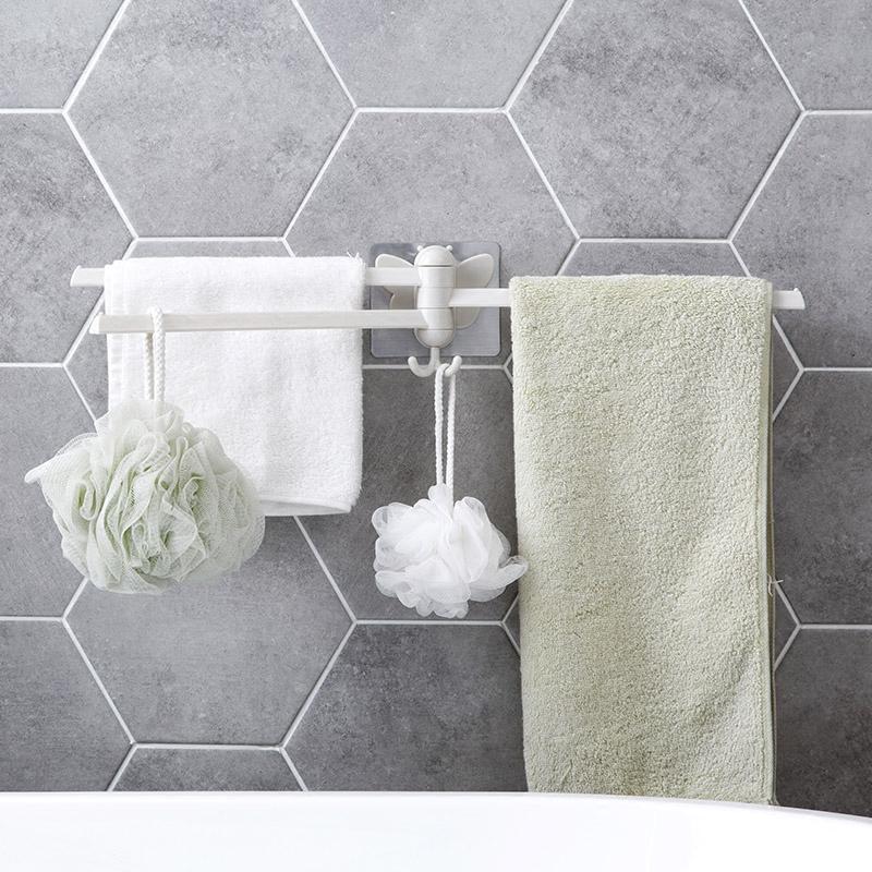 Домой домой бесшовный паста палка вращение для полотенец кухня тряпка стойка ванная комната перфорация полотенце поляк полотенце вешать