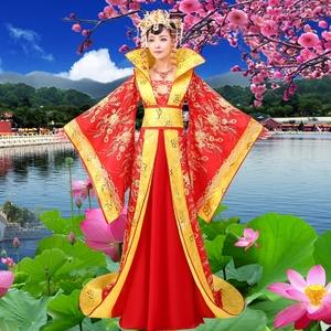古装贵妃女服装长拖尾红色皇后古典